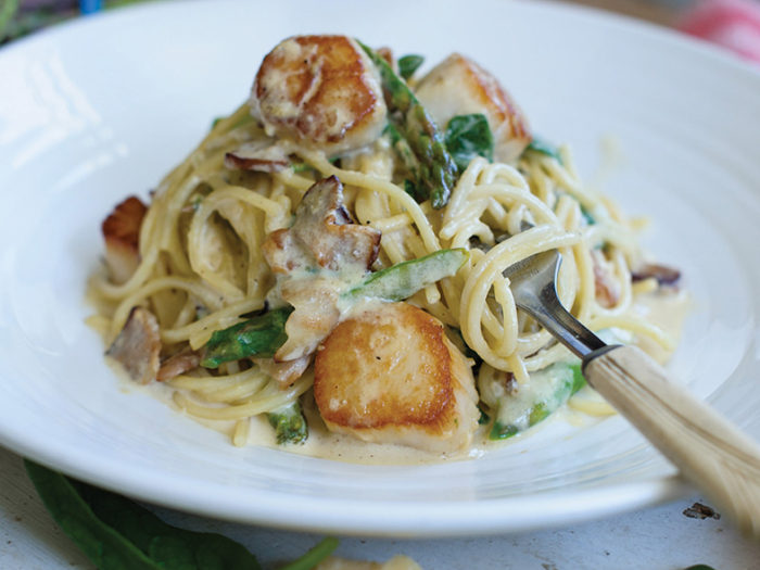 Scallop, Bacon, Asparagus and Spinach Carbonara Recipe by Chef Craig